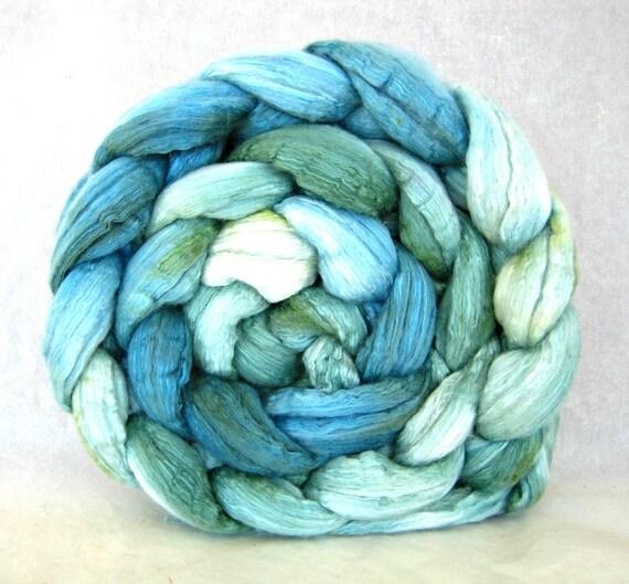 merino silk wool roving, combed top: hand painted fiber, felting supplies