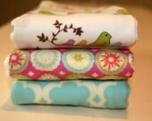 Bird boutique burp cloth set