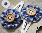 Blue Gingham Back to School Hair Clips
