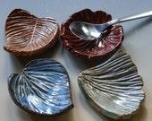 Stoneware Tea Bag Rests Spoon Rests Fork Rests Chopstick Rests Set of 4 LEAVES