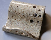 Business Card Holder iPhone Holder  Stoneware Clay Ivory Speck