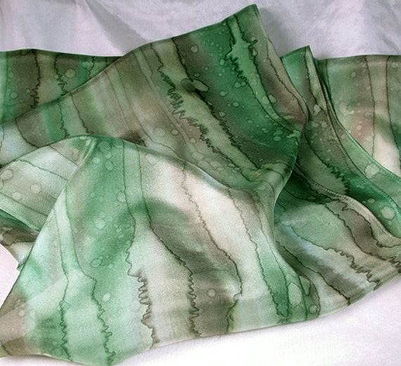 SALE 30% OFF - Hand Painted Silk Scarf  - Quintessence Silk - Forest Rain