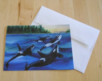 Family Tides, Watercolor Greeting Cards, Orca, 5x7, Killer Whales, Pacific Northwest Whales