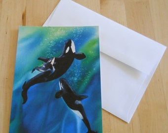 Spirit of the Sanctuary, Watercolor, Greeting Cards, Orca, Whales, 5x7