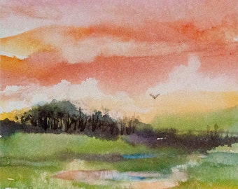 Bright Creek Dawn, Watercolor Print, Sunrise, Spring, Morning
