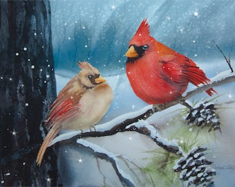 Cardinal Couple, Watercolor Print, Winter, Birds, Red, Snow