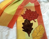 dish towel fall leaves applique