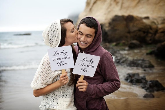 Set of Double Sided Save the Date Engagement Picture Signs - Lucky to be with Him Engagement Photo Props Photo Booth Props She Said Yes Love