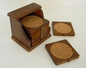 Vintage Wood Coaster Set of 8 with Case
