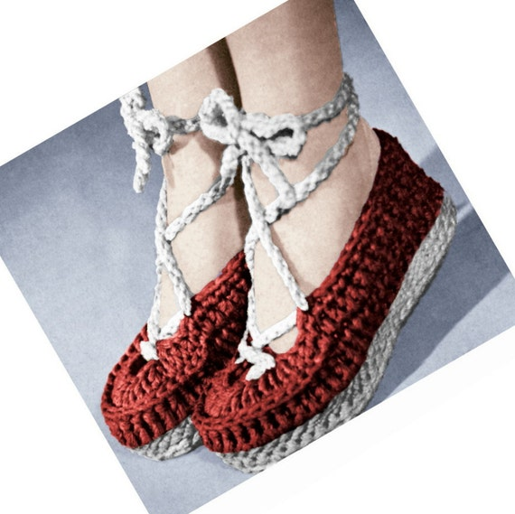 Vintage Crochet Pattern 1940s Wedgie Shoes by 2ndlookvintage