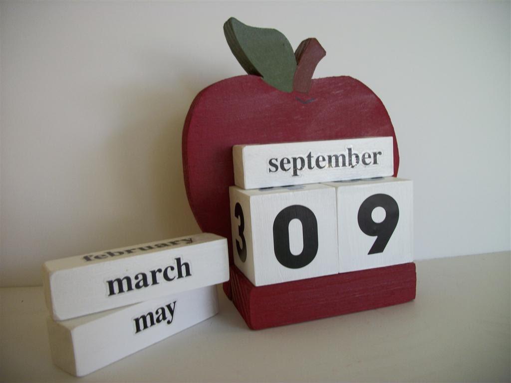 Apple Calendar Perpetual Wood Block Red Apple Decor Teacher