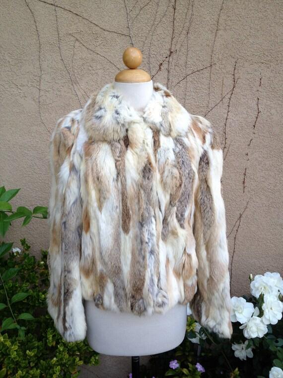 A vintage 1950s 1960s MOD retro cream and brown rabbit fur cropped jacket coat outerwear size XXS Xs S