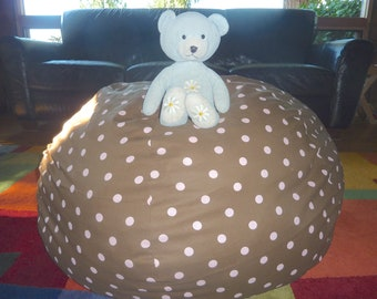 Chocolate Brown with Pink Polka Dots Bean Bag Chair Cover - Under 75