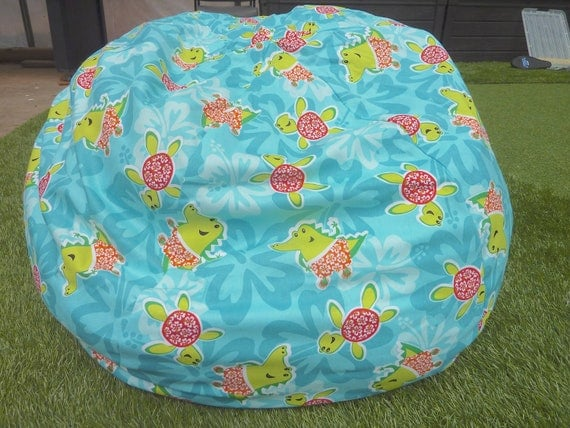 Turtle Alligator With Hibiscus Flowers Bean Bag Chair Cover