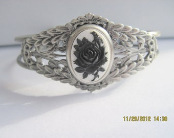 Black Rose with Bird on a Antique Silver Filigree Adjustable Cuff Bracelet
