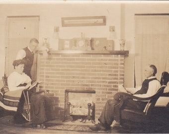 By the Fireplace - Vintage Photograph, Vernacular, Found Photo, Ephemera  (YY)