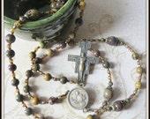 Handmade Bronze St. Francis Catholic Rosary w/ San Damiano Crucifix, Beaded Rosary in Purple Creek Jasper Gemstone