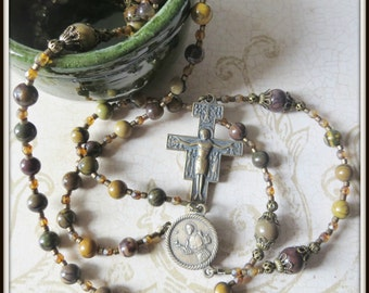 Handmade Bronze St. Francis Catholic Rosary w/ San Damiano Crucifix, Beaded Rosary in Purple Creek Jasper Gemstone