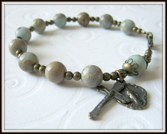 Bronze Catholic Rosary Bracelet in Impression Jasper Gemstone w/ Miraculous Medal