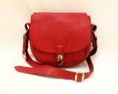 Dooney and Bourke Red Pebble Leather Cross Body Shoulder Bag