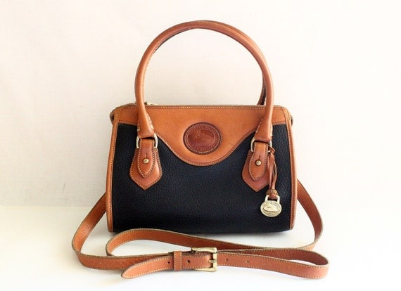 Dooney and Bourke Black Pebble and Tan Leather Trim Boston Style Hand Bag with Shoulder Strap, Cross Body Purse