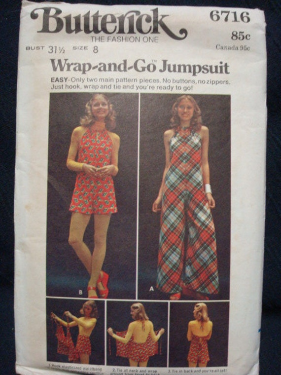 Wrap and Tie Jumpsuit Circa Early 70s Bust 31.5 Butterick 6716