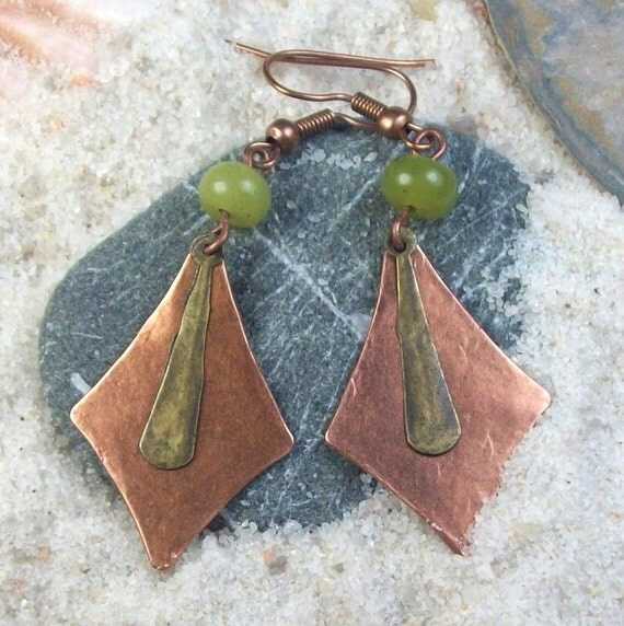 Be Here Now Earrings - olive green new jade - stone - hammered antique copper / brass