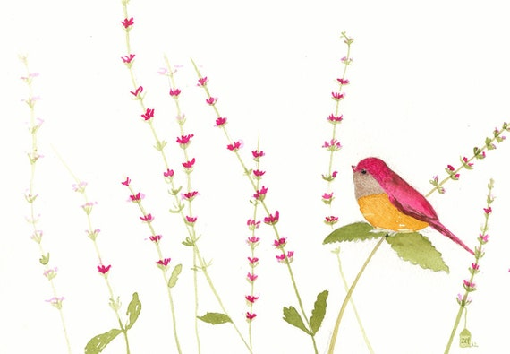 little pink bird-original watercolor