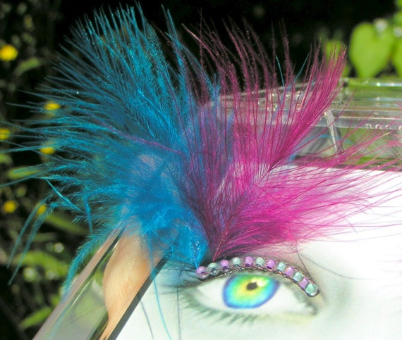 Berry Fluff Feather Eyelash Jewelry - feather false eyelashes with purple and blue down feathers
