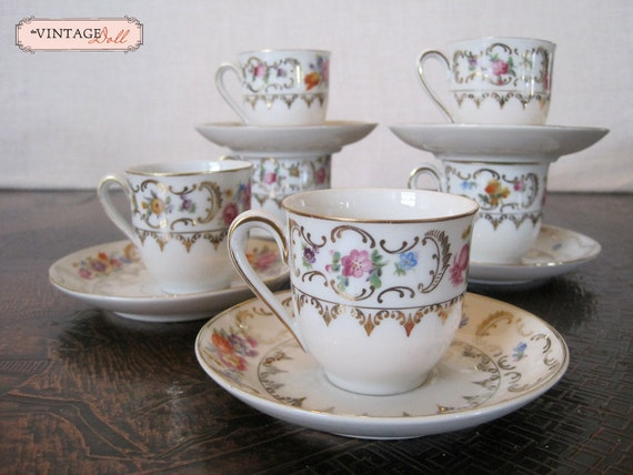 Vintage Espresso Cups and Saucers - Set of 6