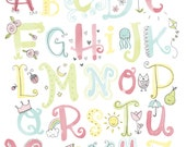 Watercolor Illustrated Alphabet Wall Art Print