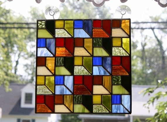 Stained glass panel attic window quilt block for Window pane quilt design