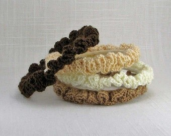 Single Stacking Bangle Bracelet - Fuzzy Crochet Ruffle - Made to Order