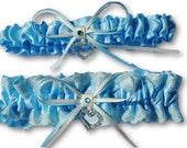 Soft blue nad ivory garter set, Wedding Garter set , beautiful blue satin and ivory lace with heart, heart garter, ivory garter, lace garter