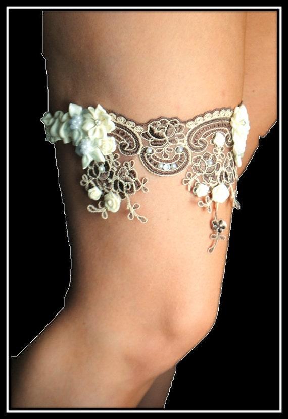 Wedding Garter  , Stunning Heirloom Keepsake garter ivory and chocolate brown lace