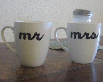 Simple White Mr. and Mrs. Hand Painted Coffee Mugs