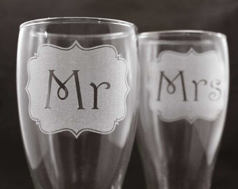 Decorative Etched Mr and Mrs Beer Pilsner Set of Two - Ready to ship