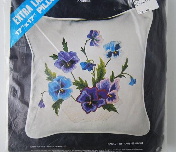 Vintage crewel embroidery pillow kit multiple choices purple
