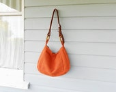 Orange upcycled cross-body hobo slouch bag with adjustable leather strap - eco friendly diaper bag
