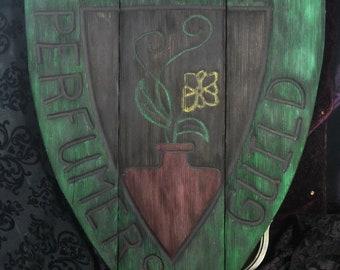 Custom carved wood  sign - Medieval crest shop sign - reclaimed western cedar