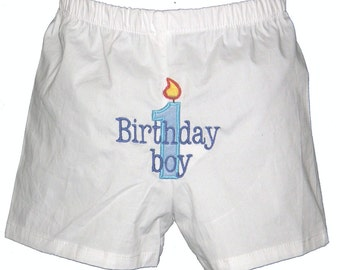 Personalized Boys Boxers Diaper Cover Birthday Boy Candle Design Infant Toddler Free Shipping