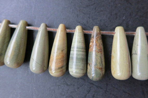 Sage Green Jasper Long Pair Briolette beads 10x25mm -top drilled -25pcs/Strand