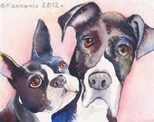 8x10 two pets CUSTOM Dog Portrait watercolor original ooak pet lover gift
