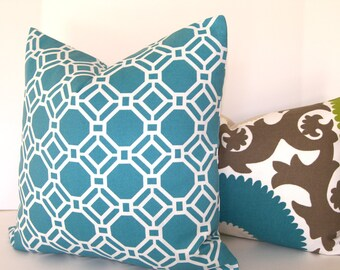Both Sides - Decorative Pillow Cover - Geometric - 18x18 inches - Teal - White - Indoor - Outdoor