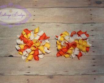 Candy corn hair bow, candy corn, halloween hair bows, korker bows, halloween hair bow, pigtail hair bows, yellow orange white hair bows