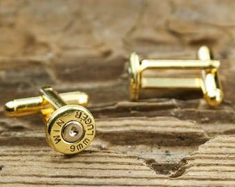 Winchester®  9mm Luger Thin Brass Bullet Cuff Links WIN-9MM-BN-CL