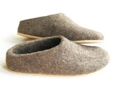 special sale. Cork Sole  Felted wool slipper shoes. Low Back. Earth Brown. Made to Order. Women's sizes. Custom colors