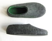 Holiday Sale. special sale. Mens Felt SlippersGreen Gray. Non Slip Outdoor Indoor. Eco Friendly. Made to order. Men's sizes