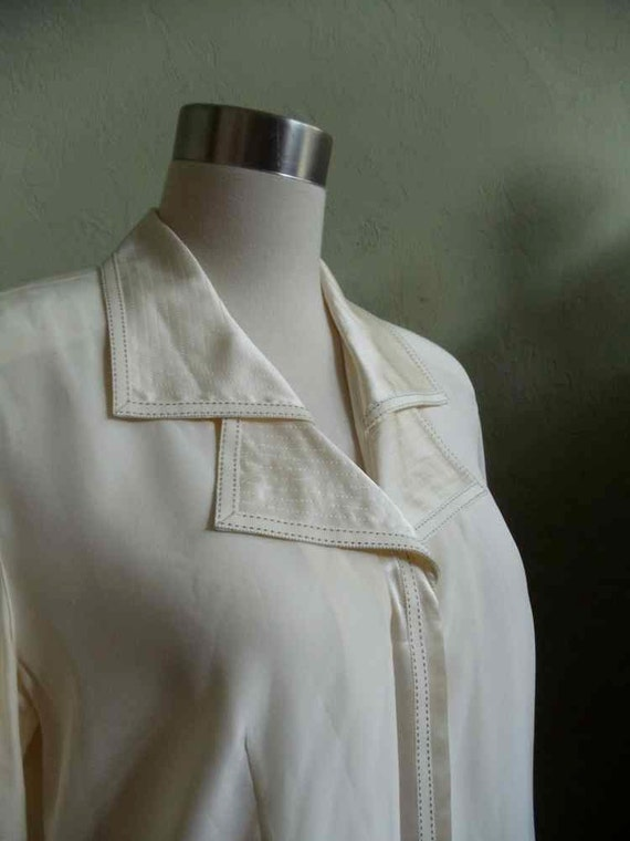 Starington Silk Cream Blouse with Two Tiered Collar