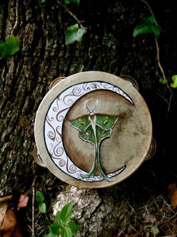 Crescent Moon and Luna Moth Tambourine